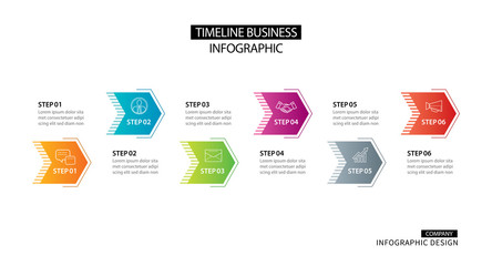 6 arrow infographic with abstract template. Presentation step business modern background.