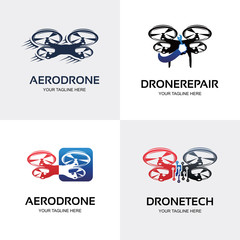 Drone Logo. Quad Copter Logo Set Design Template Collection