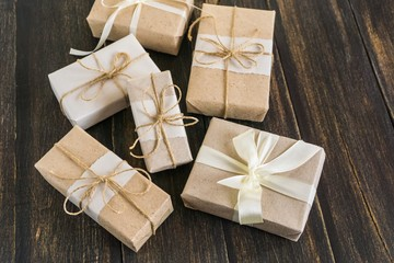 many gifts wrapped in wrapping paper