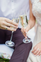 couple holding glasses with champagne