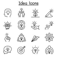 Idea, thinking, planning, Strategy, development, imagine icon set in thin line style