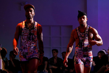 Models present creations from the CHULO underwear collection during the New York Fashion Week, in a show that raised money for transgender and cisgender young women victims of violence, in New York