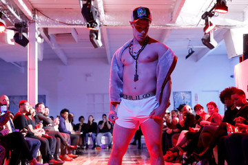 Model presents a creation from the CHULO underwear collection during the New York Fashion Week, in a show that raised money for transgender and cisgender young women victims of violence, in New York