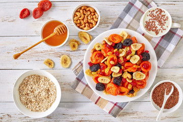 dried Fruits and Nut, cereal, yogurt, honey