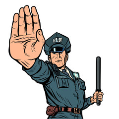 police officer stop gesture. isolate on white background
