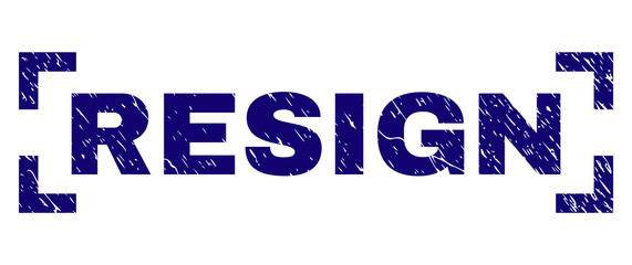 RESIGN tag seal print with grunge effect. Text tag is placed between corners. Blue vector rubber print of RESIGN with grunge texture.