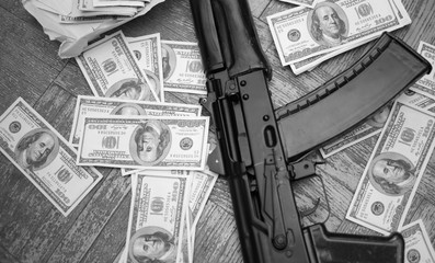 gun machine and american dollars
