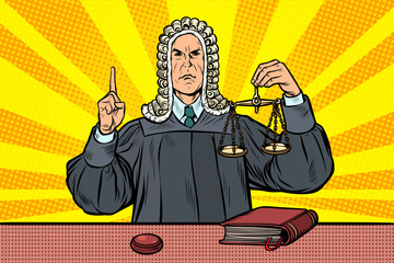 judge in a wig. scales of justice