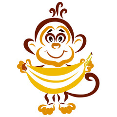 Little funny monkey with a big banana in his hands