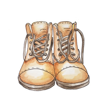 Two boots with laces on a white background illustration watercolor