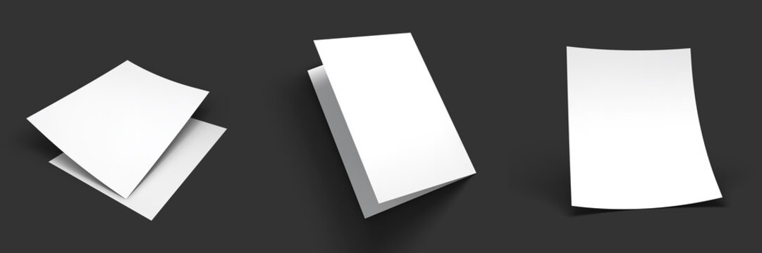 Magazine, booklet, postcard, flyer, trifold or brochure mockup template. Good for business presentations and advertisements. Mockup set on dark background. Vector Illustration.