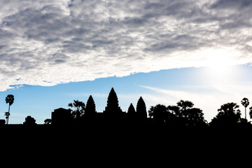 silhouette of the towers of Angkor Wat, Siem Reap, Cambodia, Asia