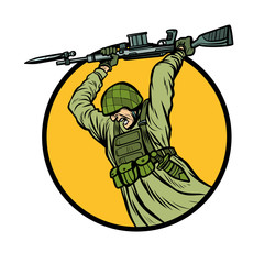symbol bayonet fighting. soldiers at war