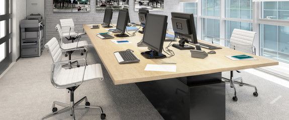 Common Computer Workplace Design (panoramic) - 3d visualization