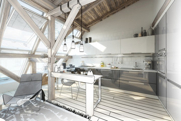 My place under the roof 04 (project) - 3d illustration