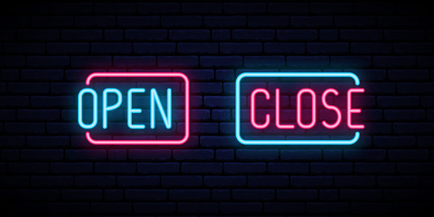 Open and Close neon iscription on brick wall background. Open Close Bright signboard. Vector design template.