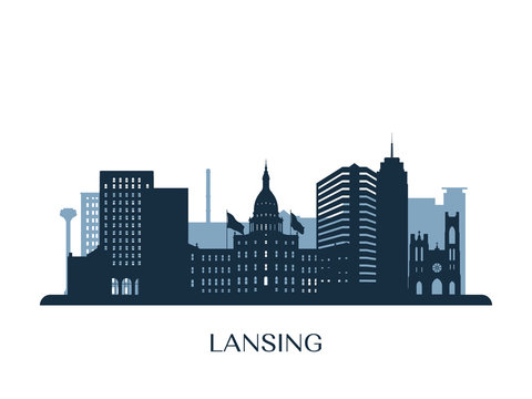 Lansing skyline, monochrome silhouette. Vector illustration.