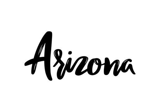 Arizona - hand drawn lettering name of USA state. Handwritten inscription. Vector illustration.