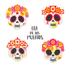 Set of skulls with patterns for the day of the dead.