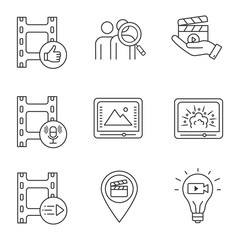 Film industry linear icons set