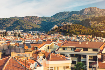 Panoramic view of old street around Castle in Marmaris Town. Marmaris is popular tourist destination in Turkey. Residential area of Marmaris, not far from the castle