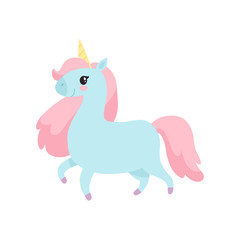 Beautiful Unicorn, Cute Magic Light Blue Animal with Pink Mane Vector Illustration