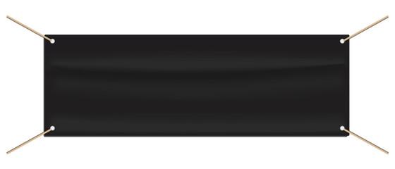 Tarpaulin Advertising Banner - Black Editable Vector Illustration - Isolated On White Background