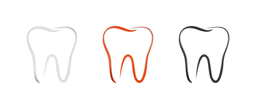 Teeth Set - Outline Vector Illustration - Isolated On White Background