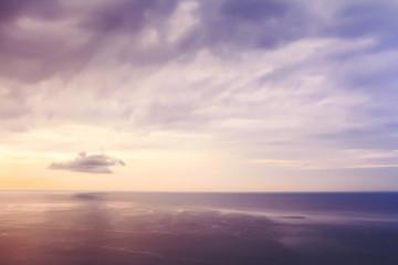 Purple sky. Beautiful seascape. Calm and rest