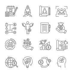 Startup linear icons set