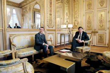 French President Emmanuel Macron meets with president of French socialist party group at the Senate Patrick Kanner at the Elysee Palace in Paris