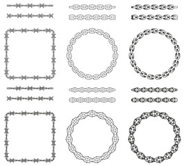 Set of old school chains and barbed wire pattern brushes. Stipple tattoo decor, dot art. Wire with right angles. Eps10 vector