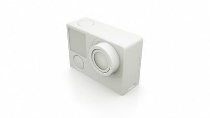White Action Camera 3D render. 3D illustration