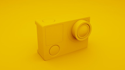 Yellow Action Camera isolated. 3D illustration