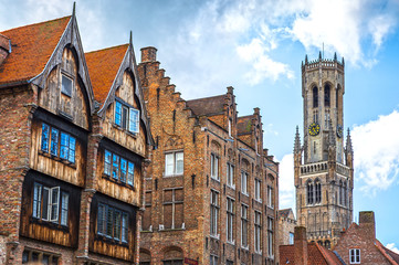 Wall Murals Bridges Historic buildings in the Brugge city center, Belgium