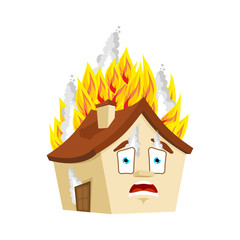 House Fire isolated. burning Home Cartoon Style. Building panicked Vector