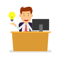 Businessman at work place with lightbulb idea, Vector Illustration