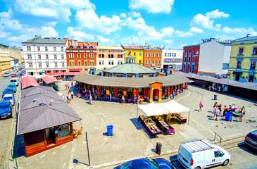 Autocollant pour porte Cracovie The central square in Kazimierz district, Krakow, Poland