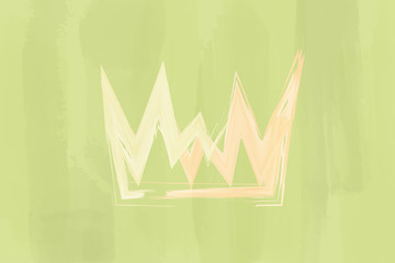 Christian worship and praise. Crown with watercolor splashes.