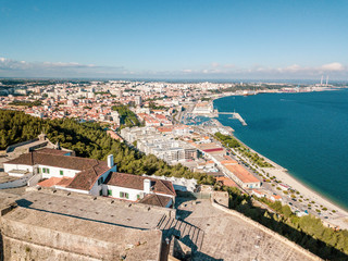 Aerial view of Setubal with fortress in the forest, Portugal Fototapete