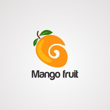 mango fruit logo vector, icon, element and template