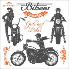 Girls ride a motorbike. Biker party poster design. Vector illustration