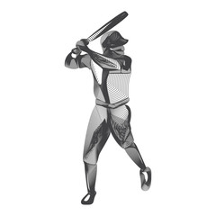 Abstract baseball player male figure with bat in batter action moving pose human silhouette Vector sport game outline shape contour illustration in line art style isolated on white background