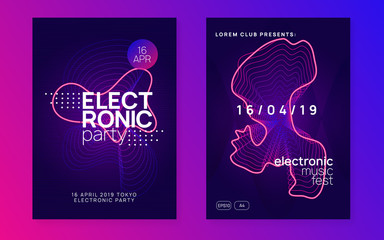 Neon club flyer. Electro dance music. Trance party dj. Electronic sound fest. Techno event poster.