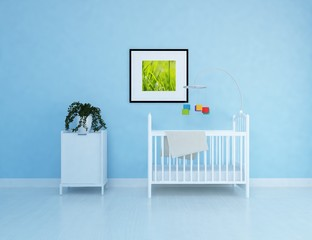 Idea of a white scandinavian nursery room interior with crib and large wall and white landscape in window. Home nordic interior. 3D illustration