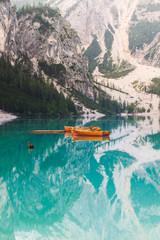 Fototapete - Braies Lake, Fanes Sennes Braies Natural Park, Dolomites, South Tyrol, Italy