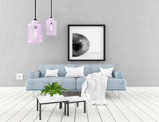 Idea of a white scandinavian room interior with furniture and decor on the large wall and white landscape in window. Home nordic interior. 3D illustration