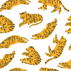 Tiger lies in various poses. Hand drawn vector seamless pattern. Perfect for printing