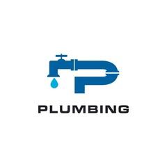 Plumbing, pipe letter P logo design inspiration