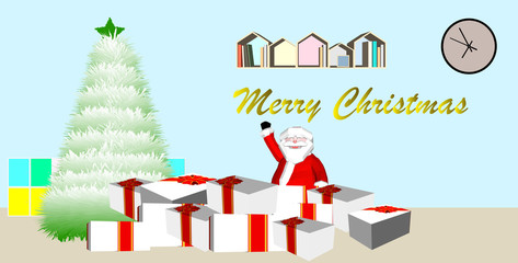 christmas greeting card with tree and gifts